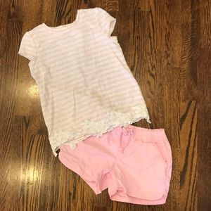 Girls Pink Shorts Outfit Gap & Sonoma Size 6/6X